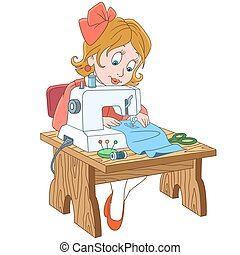 costureira, trabalhador, caricatura