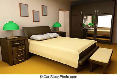 cosy bedroom interior 3d