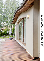 Cosy detached house with wooden terrace, surrounded by birch...