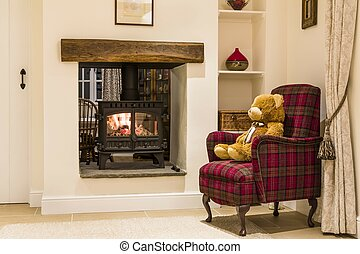 Cosy fireplace with wood burning stove