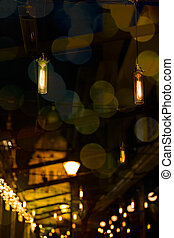 cosy lights, lamps in a modern restaurant