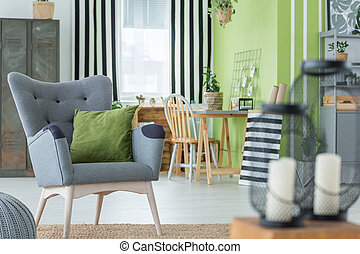 Cosy room with metal furniture