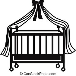 Cot icon, simple style - Cot icon. Simple illustration of...