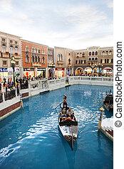 COTAI STRIP MACAU CHINA-AUGUST 22 visitor on gondola boat in...