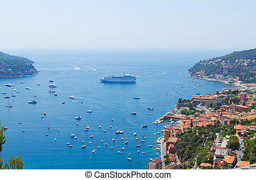 cote dAzur, France - colorful coast and turquiose water with...