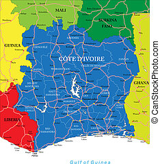Highly detailed vector map of Cote d'Ivoire with administrative regions, main cities and roads.