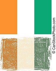 cote, grunge, flag., ivoire, illustration, vecteur