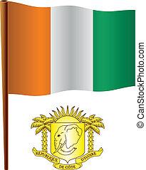 cote, ondulé, drapeau, ivoire