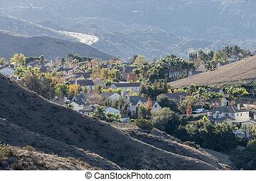 coteau, californie, voisinage, niché
