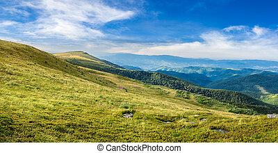 coteau, chaîne de montagnes, vallée