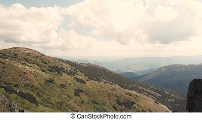 coteau, herbeux, pré, ridge., montagne, vert