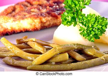 cotoletta, con, organico, fagioli, e, patata cucinata