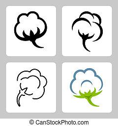 cotone, vettore, set, icone