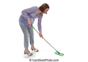cotonete, lavagens, mulher, cima, chão