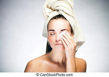 cotonete, rosto, limpeza, fresco, menina, algodão
