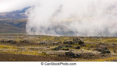 Cotopaxi Andes landscape moving clouds - Andean mountain ...