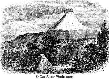Cotopaxi Volcano in Equador, vintage engraving - Cotopaxi...