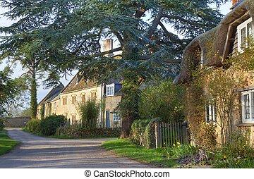 cotswold, bastante, aldea