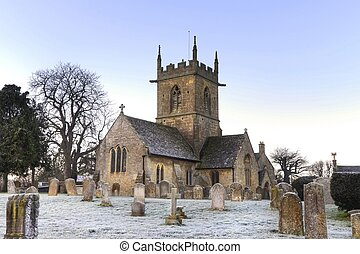 Cotswold church in winter - The old church at Willersey near...