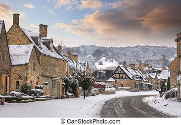 cotswold, inglaterra, nieve, worcestershire, broadway, aldea