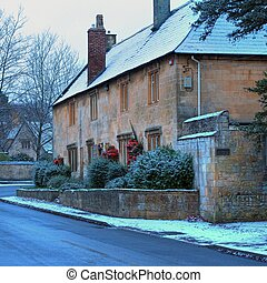 cotswold, inverno, cabanas