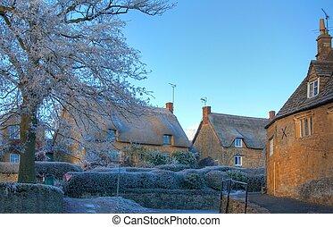 cotswold, inverno, vila