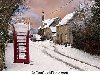 cotswold, nieve, cabañas