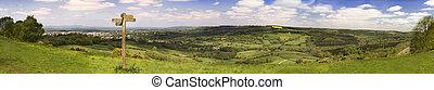 Cotswold way vista across green fields