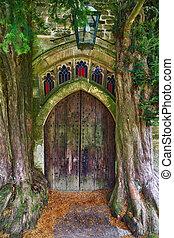 cotswolds, antiguo, puerta, de madera, edwards, dos, c/, ...