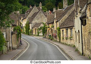 cotswolds, combe, cabañas, calle, reino unido, castillo, ...