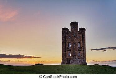 cotswolds, niebo, barwny, zachód słońca, uk, broadway, wieża
