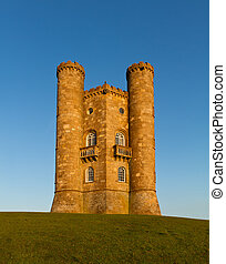 cotswolds, reino unido, broadway, torre, ocaso, antes