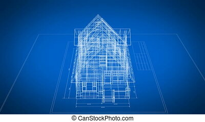 Cottage 3d Blueprint Rotating on Engineering Plan Seamless...
