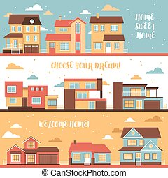 Cottage And Village Houses Horizontal Banners - Cottage and...
