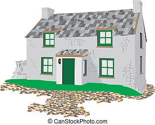 cottage, arte lapidaria, pietra, -