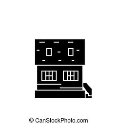 Cottage black icon concept. Cottage  vector sign, symbol, illustration.