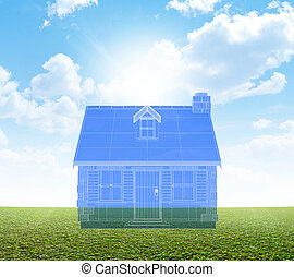 Cottage blueprint on green lawn a blueprint plan overlay stock a blueprint plan overlay for a stone cottage with a chimney and shutters on a blue sky and grass lawn background malvernweather Images