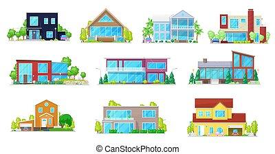 cottage, casa, castello, villa, appartamento, casa, icone