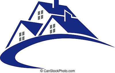 cottage, casa, simbolo, moderno, o