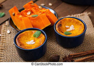 Cottage cheese and pumpkin pudding with cinnamon and nutmeg...