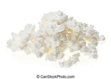 Cottage cheese (curd) heap, isolated on white