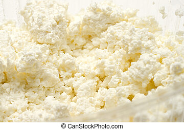 Cottage cheese curd heap on white