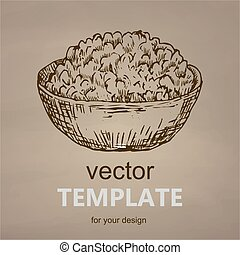 Cottage cheese hand drawn vector illustration