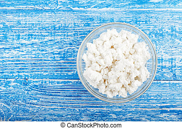 cottage cheese in a glass plate