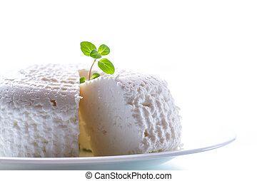 cottage cheese in a white plate