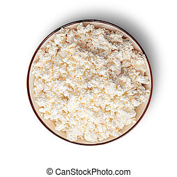 Cottage cheese in bowl top view
