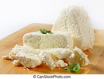 Cottage cheese on cutting board