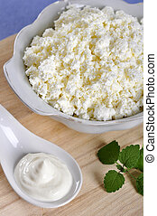 Cottage cheese with sour cream - Cottage cheese in bowl with...