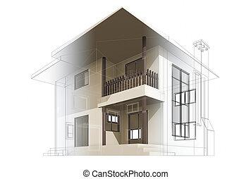 Cottage construction. High quality 3d render