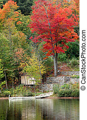 Cottage dock in autumn
